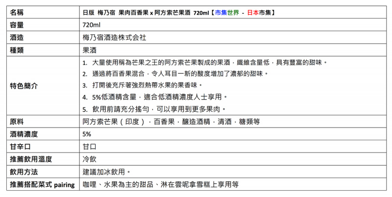 日版 梅乃宿 Frutas 阿方索芒果 x 百香果果肉酒 720ml【市集世界 - 日本市集】