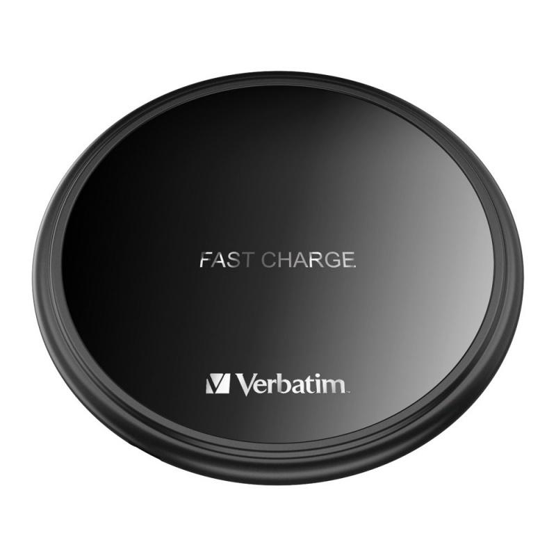 【香港行貨】 Verbatim 10W Flat Round Wireless Charger - Black