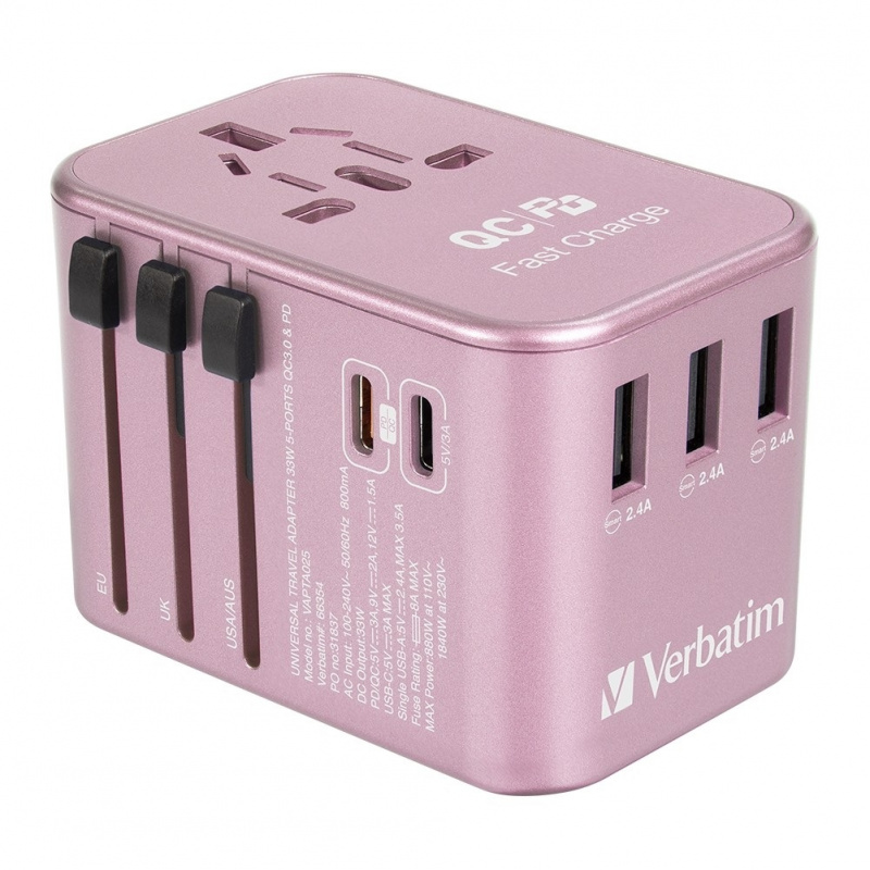 【香港行貨】 Verbatim 5 Ports 33.5W QC3.0 & PD Travel Adapter