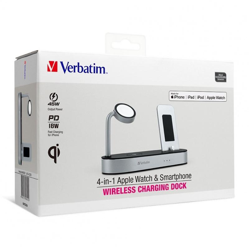 【香港行貨】 Verbatim 4 in 1 Apple Watch & Smartphone Wireless Charging Dock (66401)
