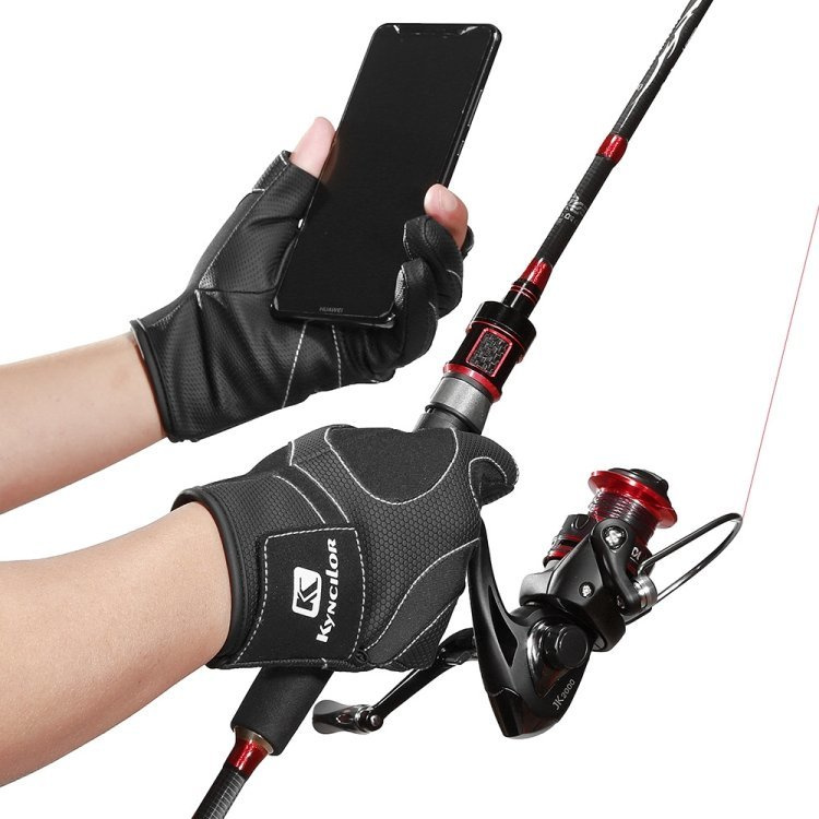Kyncilor釣魚手套冬季保暖防水防滑手套3指露出