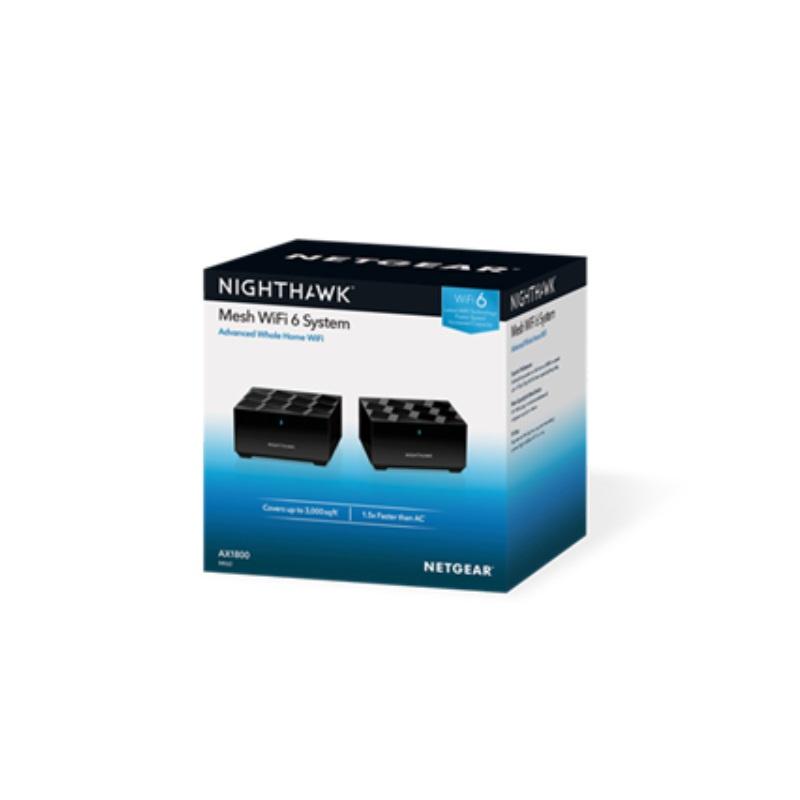 【香港行貨】 Netgear Nighthawk MK62 - 雙頻 Mesh WiFi 6 無線網絡系統 2 機套裝 (AX1800)