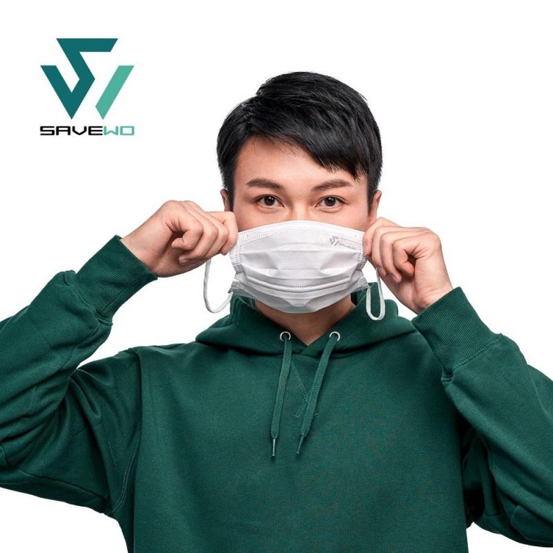 香港製 SAVEWO PREMIUMMASK 救世超卓口罩 純白色 (30片/盒 ,獨立包裝) (標準碼/細碼) (送口罩減壓器)