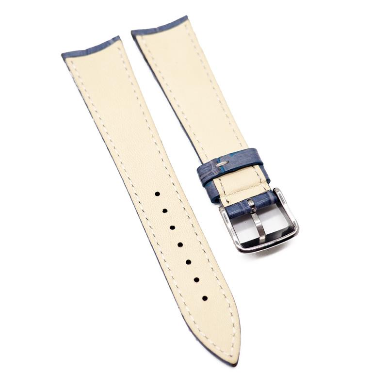 20mm 淺藍色鱷魚皮錶帶, 白色車線