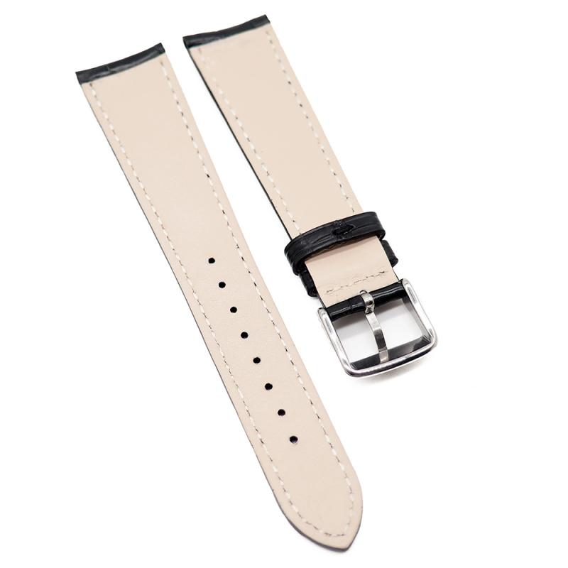 20mm 光面黑色鱷魚皮錶帶