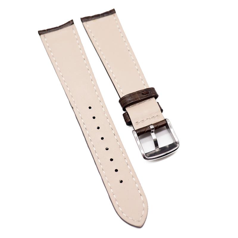 20mm 光面啡色鱷魚皮錶帶