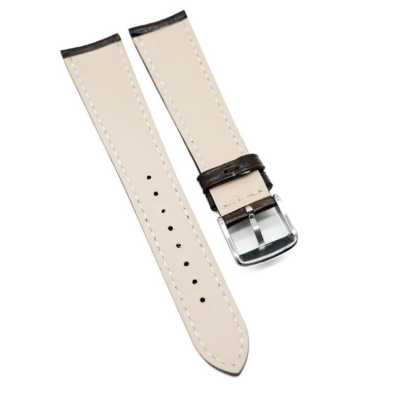 20mm 光面深棕色鱷魚皮錶帶