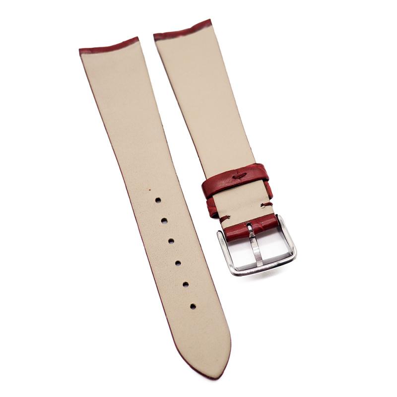 20mm 酒紅色優質鱷魚皮錶帶