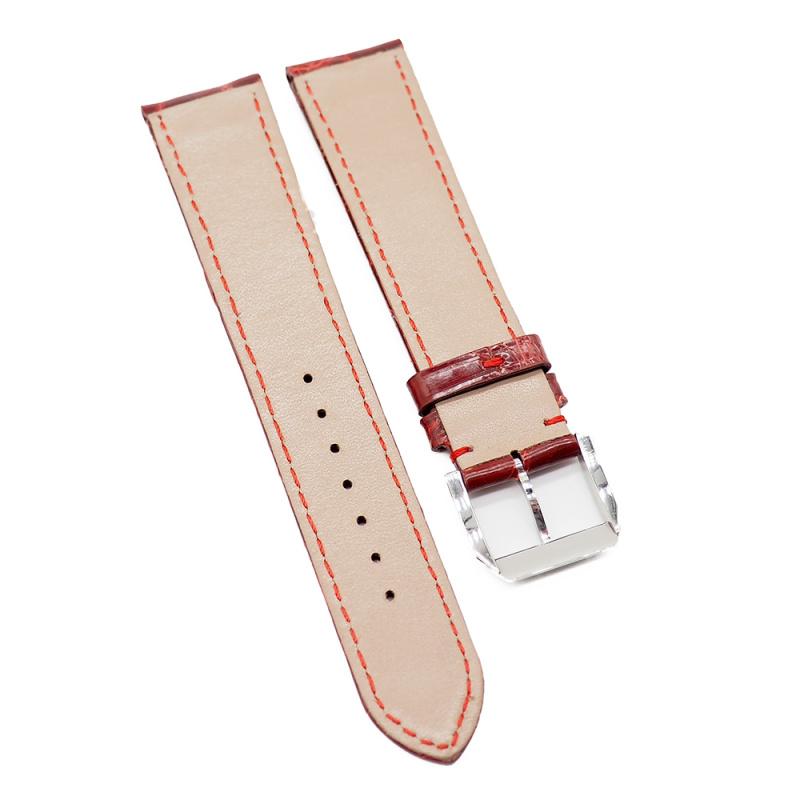 20mm 光面紅色優質鱷魚皮錶帶