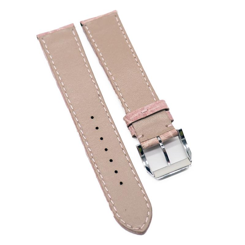 20mm 光面粉紅色優質鱷魚皮錶帶