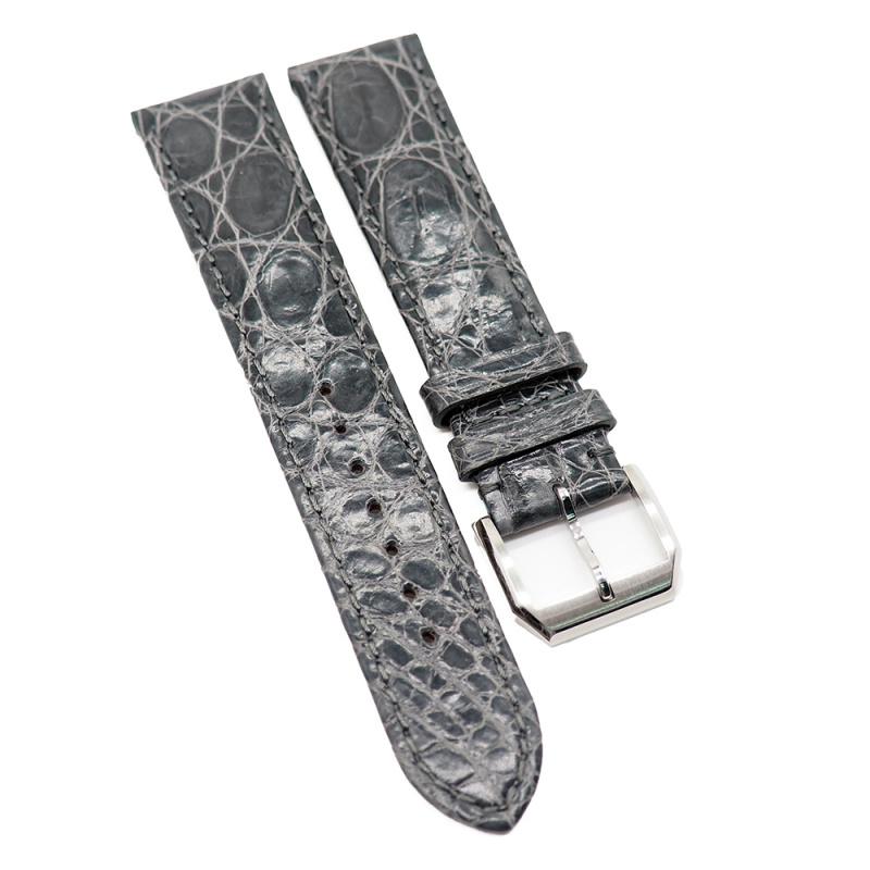 20mm 光面灰色優質鱷魚皮錶帶