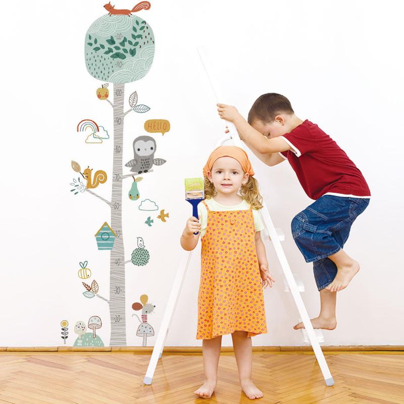 趣怪得意森林動物嬰孩度高尺貼紙 牆貼(120cm 以下)