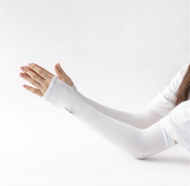 2對冰絲防曬袖 指孔款- 白色