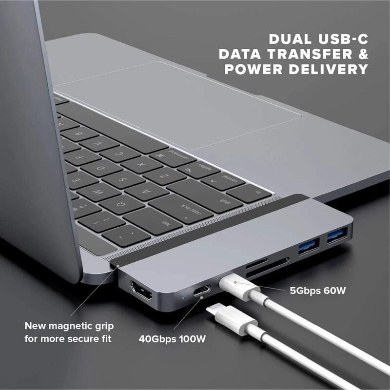 HyperDrive Duo 7-in-2 USB-C Hub for MacBook Pro / Air (HD28C-Grey)