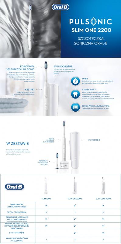 Oral-B Pulsonic Slim One 2200聲波電動牙刷,可在2週內使牙齒潔白,帶有計時器,2個Pulsonic刷頭和旅行盒,珍珠白色