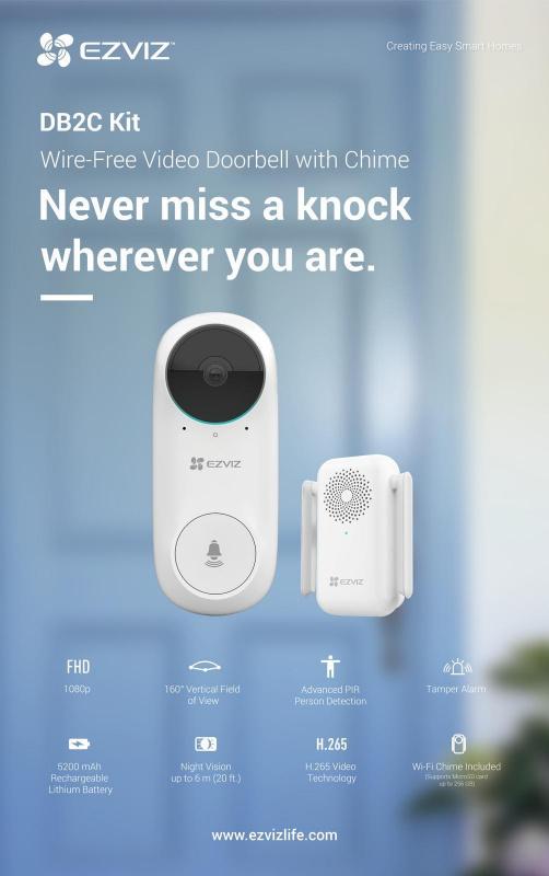 EZVIZ - 200萬像無線充電式 1080p PIR 人臉識別智能門鐘 DB2C