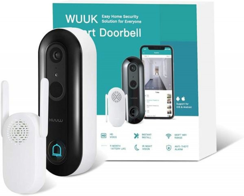 美國 WUUK 智能視頻防水攝像門鐘 + WIFI 手機監控