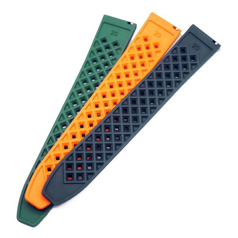20mm, 22mm 橙色多孔型氟橡膠快拆錶帶