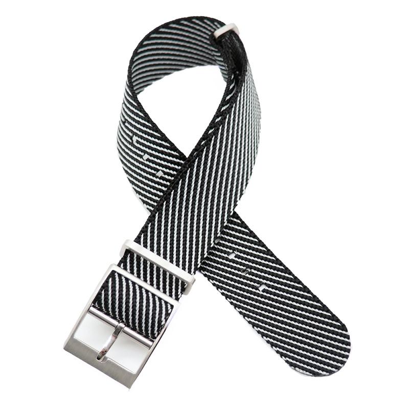 20mm, 22mm 黑白斜間紋高質尼龍錶帶