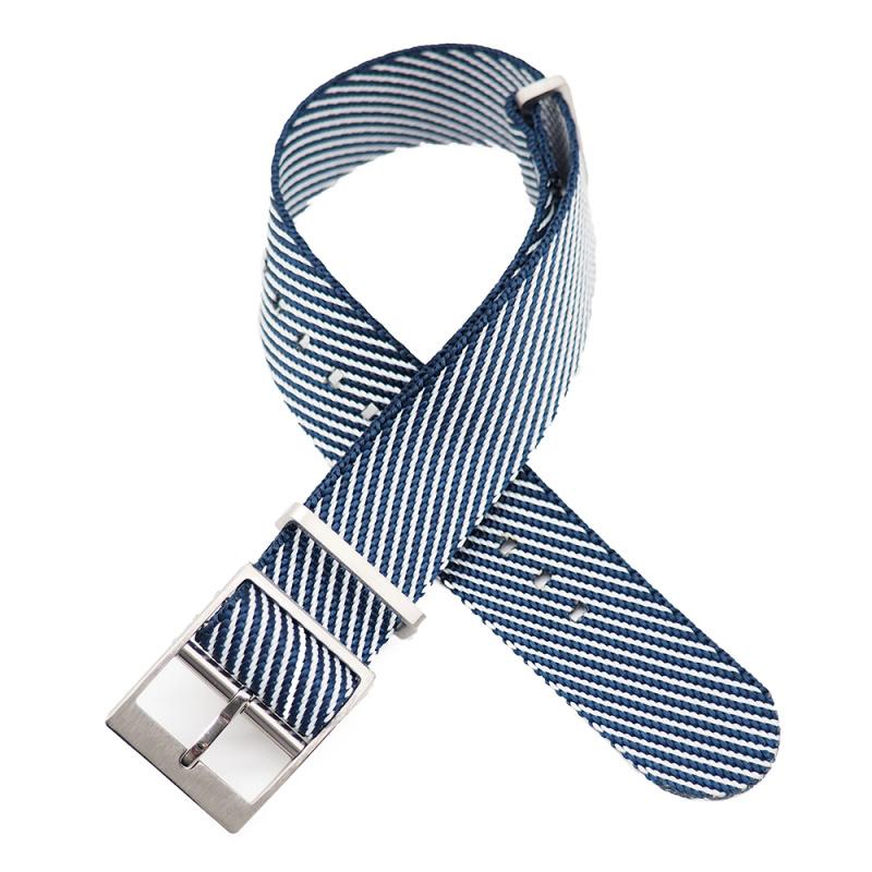 20mm, 22mm 藍白斜間紋高質尼龍錶帶