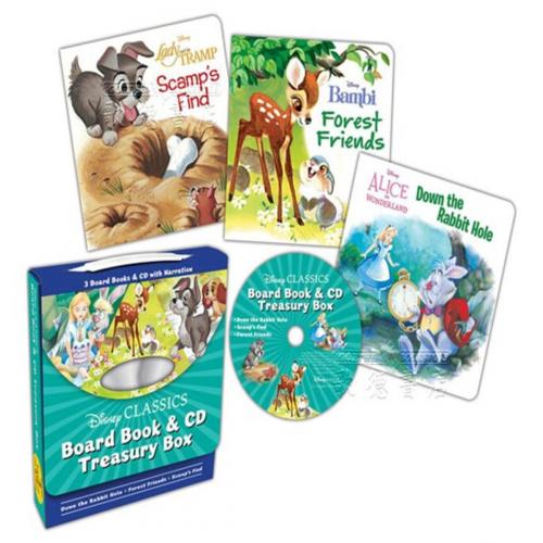 Disney 迪士尼愛麗絲夢遊仙境/小鹿斑比/小姐與流氓的迪士尼經典故事 [英文原版3冊紙板書+CD]