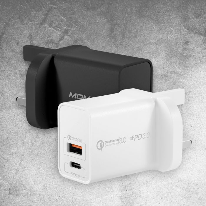 Momax One Plug雙輸出USB 快速充電器(USB-C PD 3.0+QC 3.0)(2色)#UM13