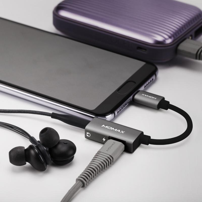 Momax One Link2合1 Type-C 轉3.5mm耳機插及充電轉插線(灰) HT1