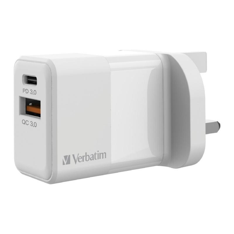 Verbatim 2 Port 20W PD & QC 3.0 USB充電器[66633]