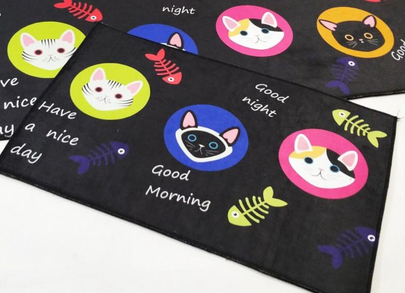 得意貓咪地墊 地毯 40 x 60cm 黑色 卡通