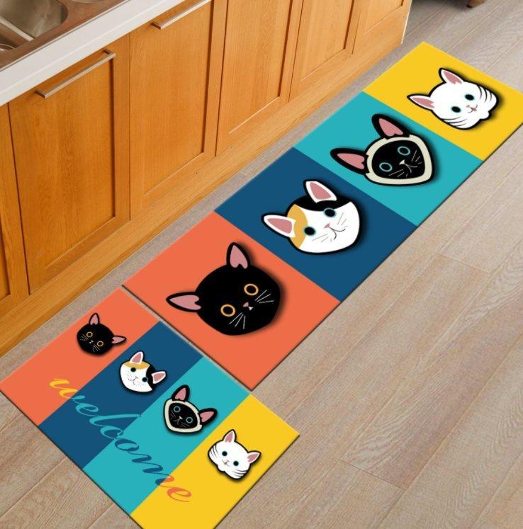 彩色貓咪地毯 兩件套裝 (40*60+40*120cm)