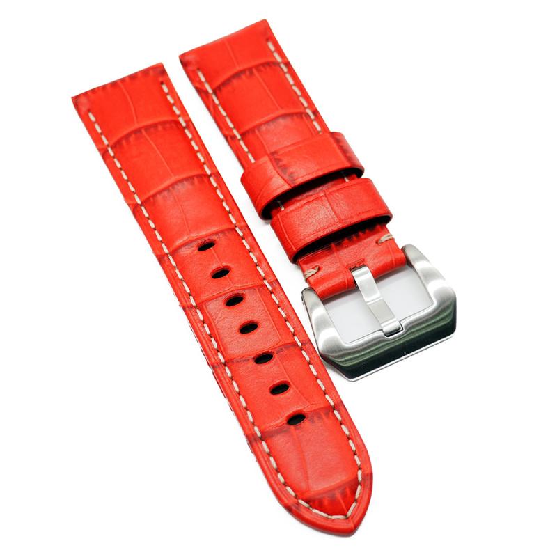 24mm Panerai Style 紅色鱷魚紋牛皮代用錶帶