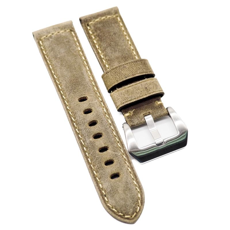 24mm Panerai Style 灰黃舊化色牛皮代用錶帶