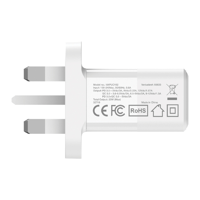 Verbatim 2 Port 20W PD & QC 3.0 USB充電器 (66633)