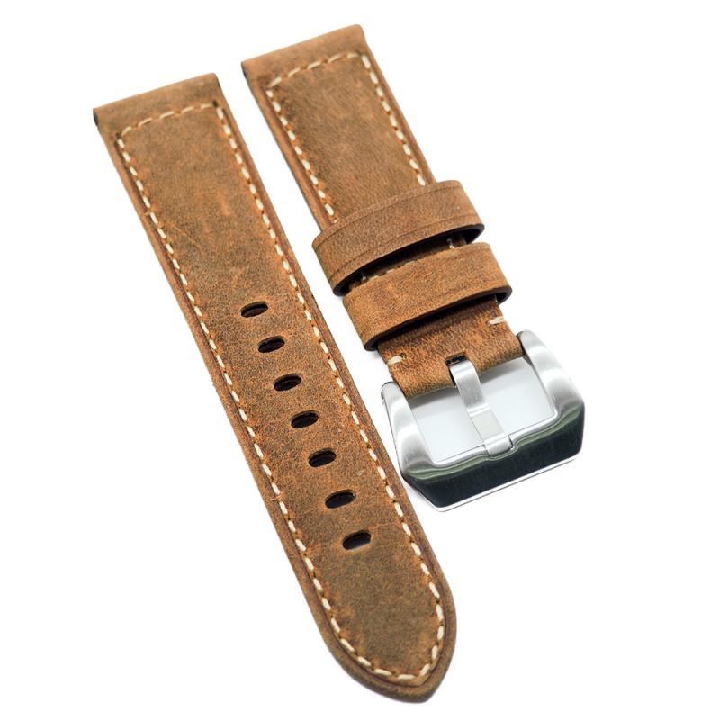 24mm Panerai Style 啡黃色牛皮代用錶帶