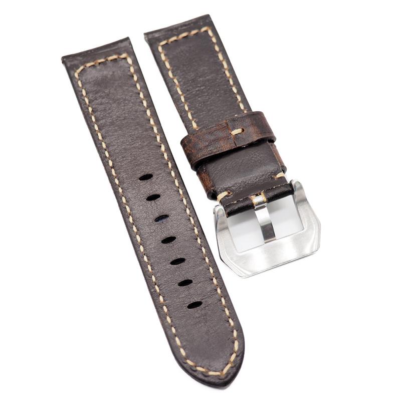 24mm Panerai Style 棕色變色牛皮代用錶帶