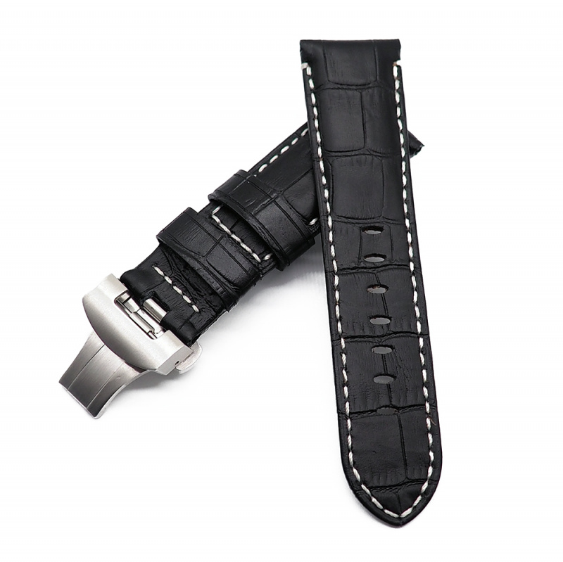 24mm Panerai Style 黑色鱷魚紋牛皮錶帶配蝴蝶扣