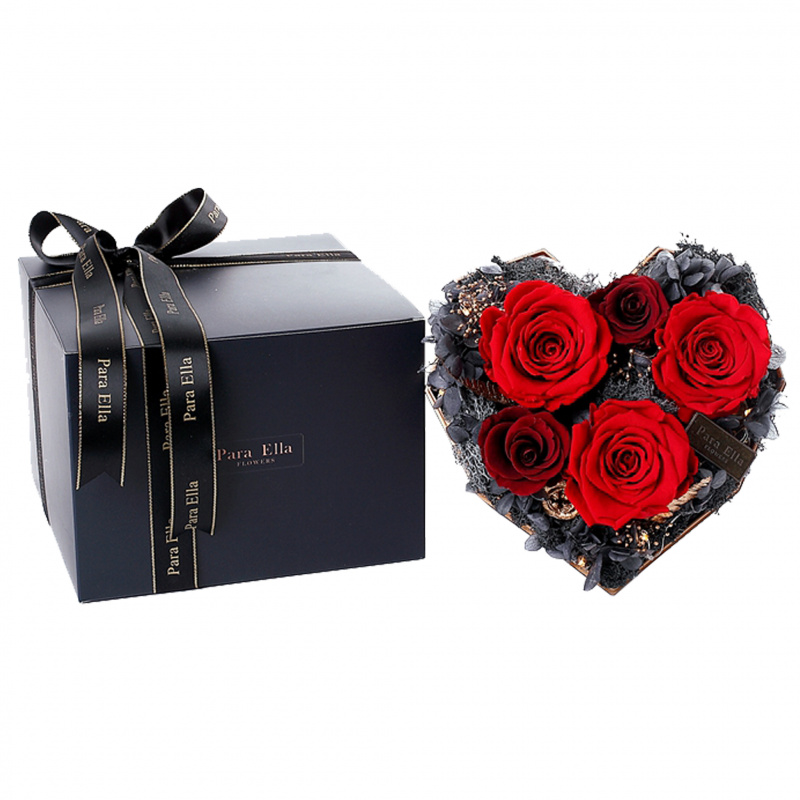 心型盒玫瑰花 (紅)