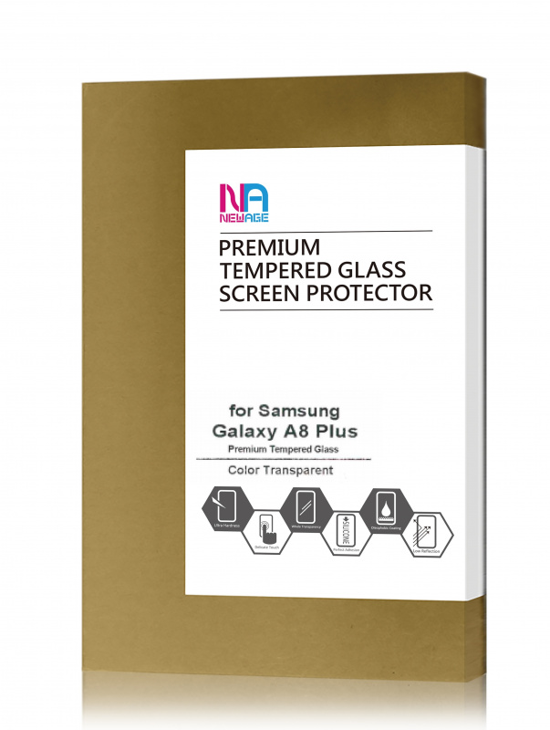 NEWAGE Premium Tempered Glass Screen Protector For Samsung Galaxy A8 PLUS