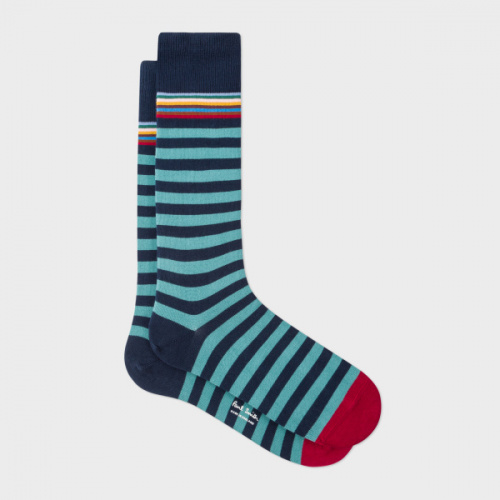 Paul Smith 綠x深藍間條襪
