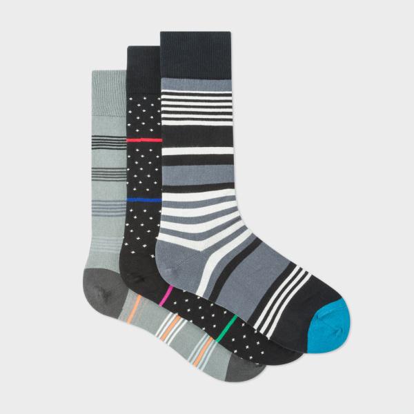 Paul smith 男裝Stripe And Fleur-De-Lis 襪3對裝