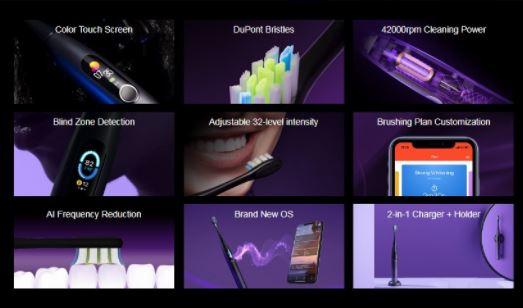 [香港行貨] Oclean X Pro 智能彩色觸控螢幕音波電動牙刷 [4色]