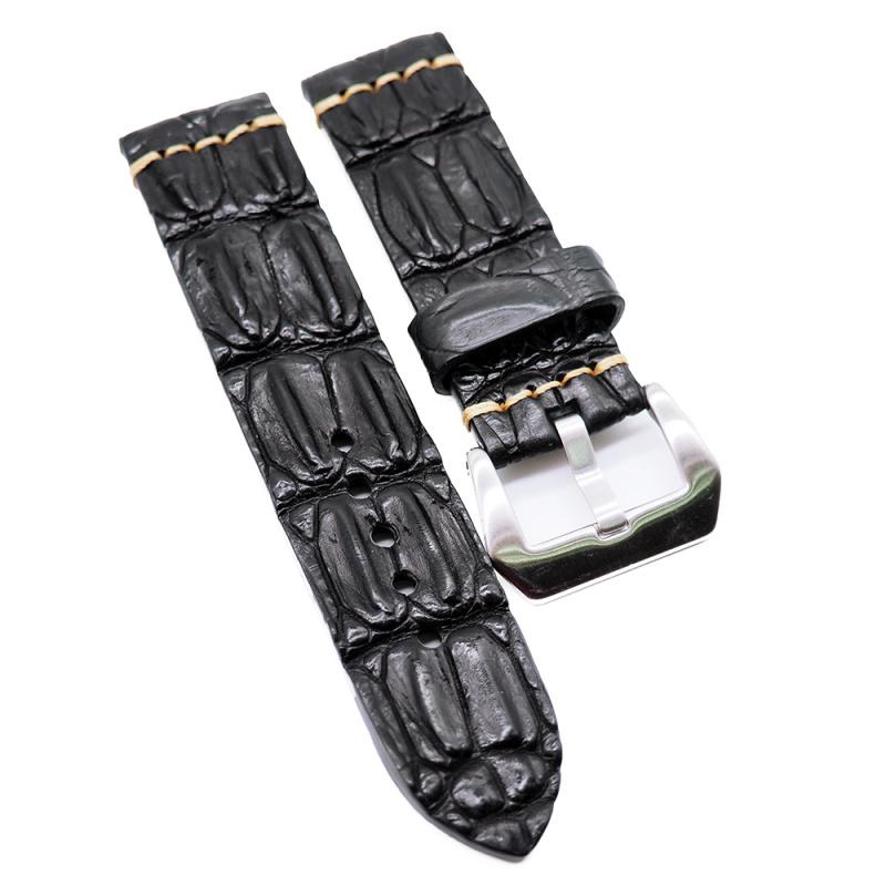24mm 復古黑色鱷魚背骨鱷魚皮錶帶