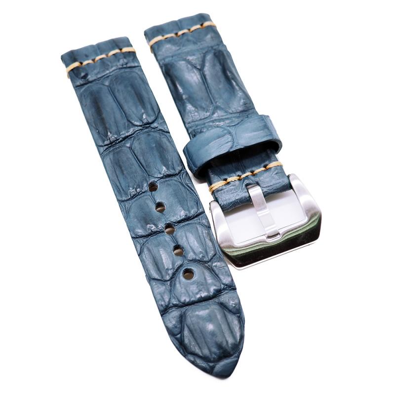 24mm 復古鐵藍色鱷魚背骨鱷魚皮錶帶