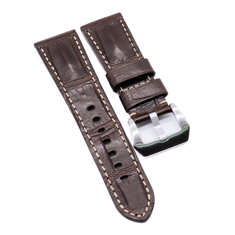 26mm Panerai 棕色鱷魚背骨代用錶帶, 米黃色車線