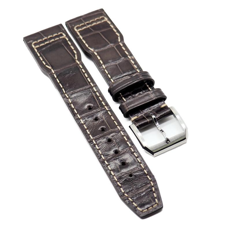 21mm 咖啡色 IWC Pilot Style 鱷魚皮代用錶帶