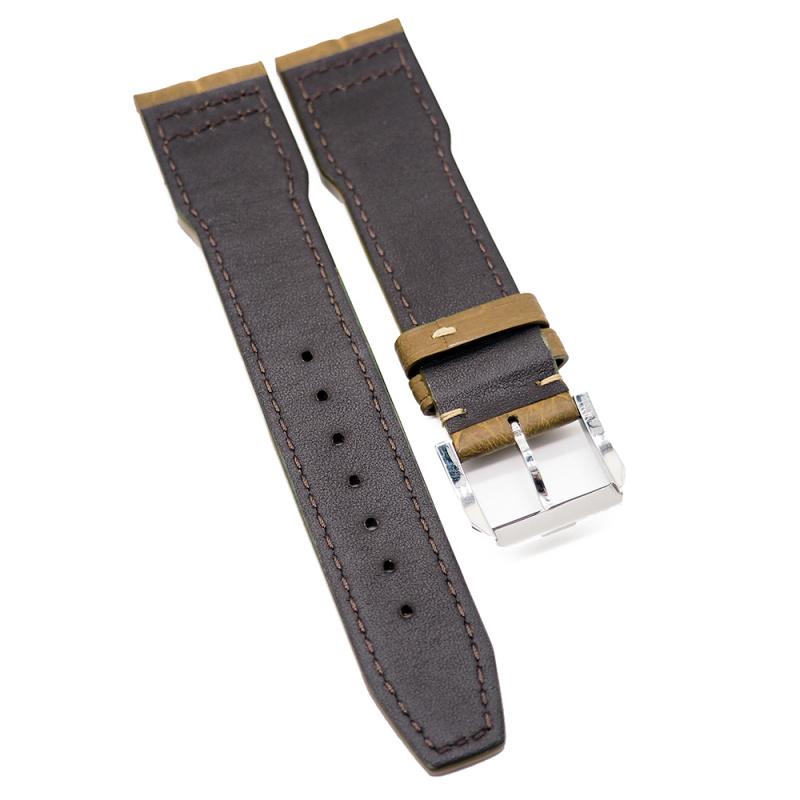 21mm 赭黃色 IWC Pilot Style 鱷魚皮代用錶帶