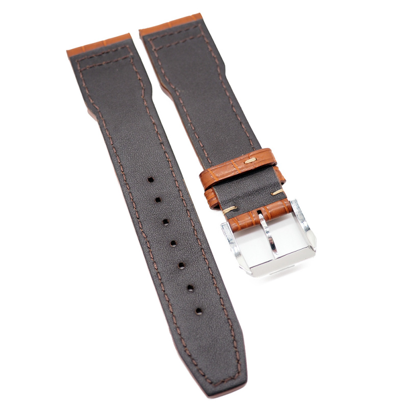 21mm 蜜柑色 IWC Pilot Style 鱷魚皮代用錶帶