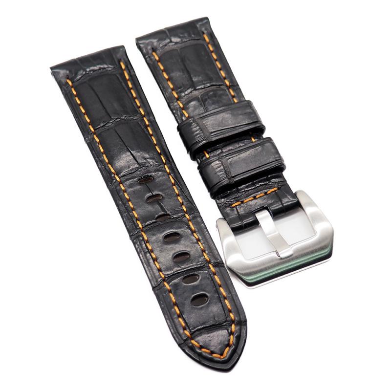 24mm Panerai 黑色鱷魚皮代用錶帶, 橙色車線