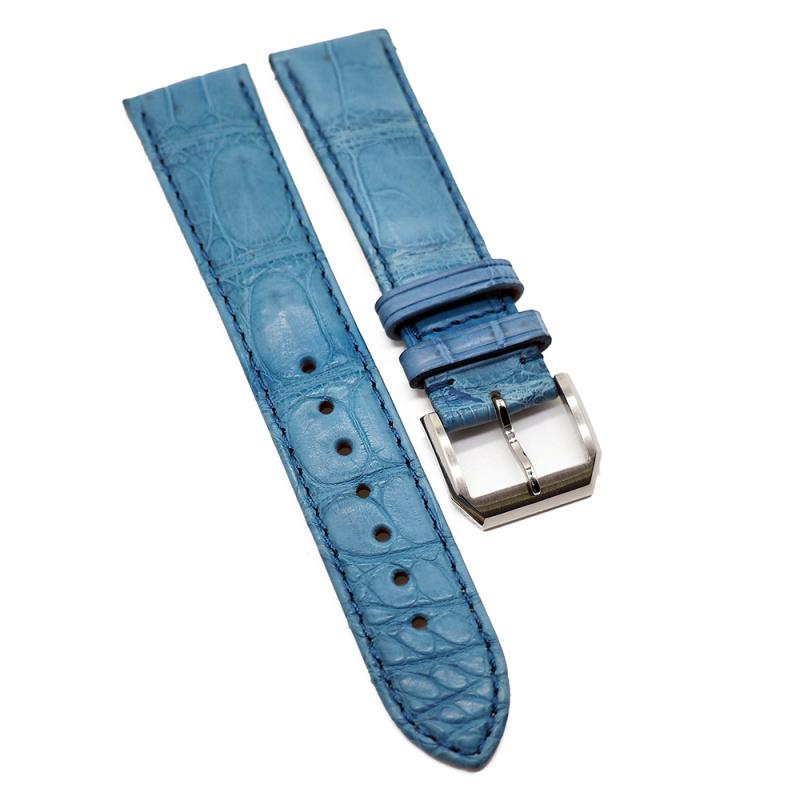 20mm 天藍色優質鱷魚皮錶帶