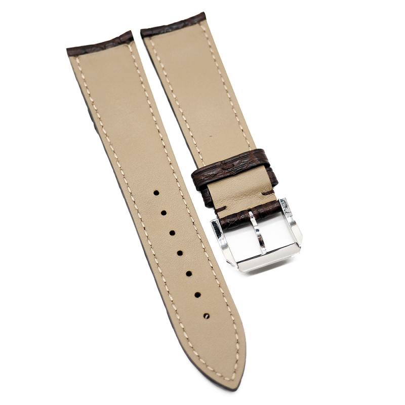 21mm 啡色優質鱷魚皮背骨錶帶